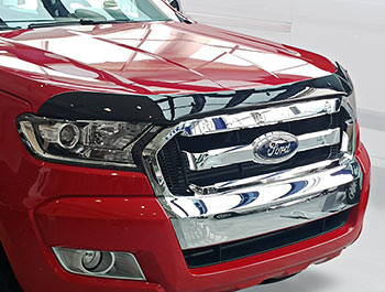 Ford Ranger 2015> Black Acrylic Bonnet Wind Deflector