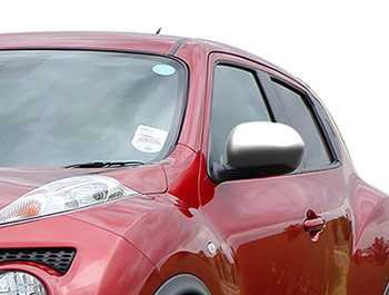 Brushed Stainless Steel Mirror Covers - Nissan Juke 11-14