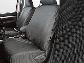 Tailored Fit Front Black Seat Cover Set - Toyota Hilux 15>