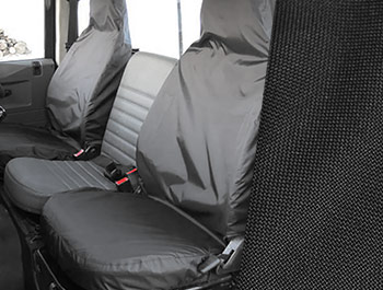 Tailored Fit Front Black Seat Covers - Land Rover Defender 83-07