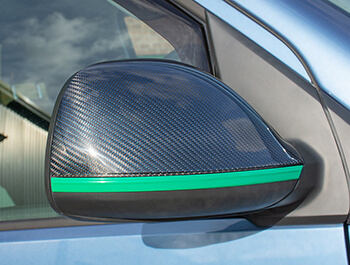 Blue Real Carbon Fibre Mirror Covers - VW Amarok 2010>