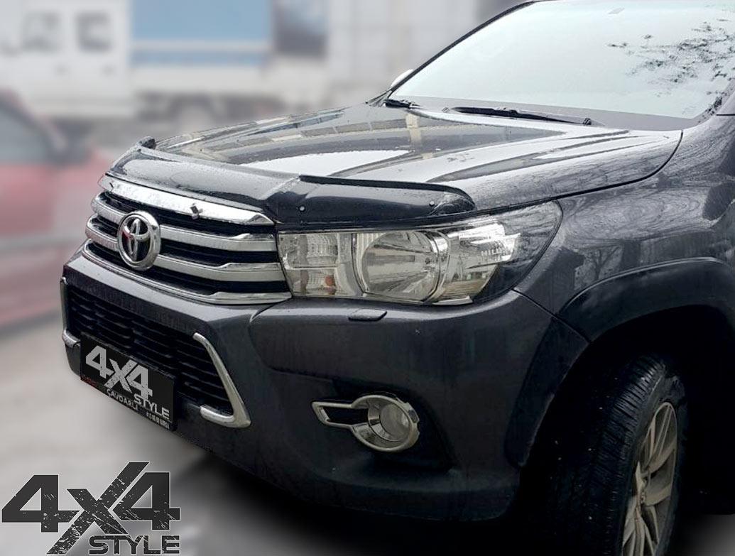 Toyota Hilux 2015> Black Acrylic Bonnet Wind Deflector