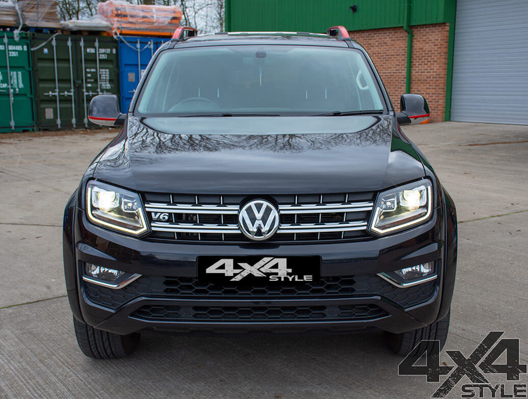 Red Edition Roof Bars & Door Mirror Trim Strips VW Amarok 2010>