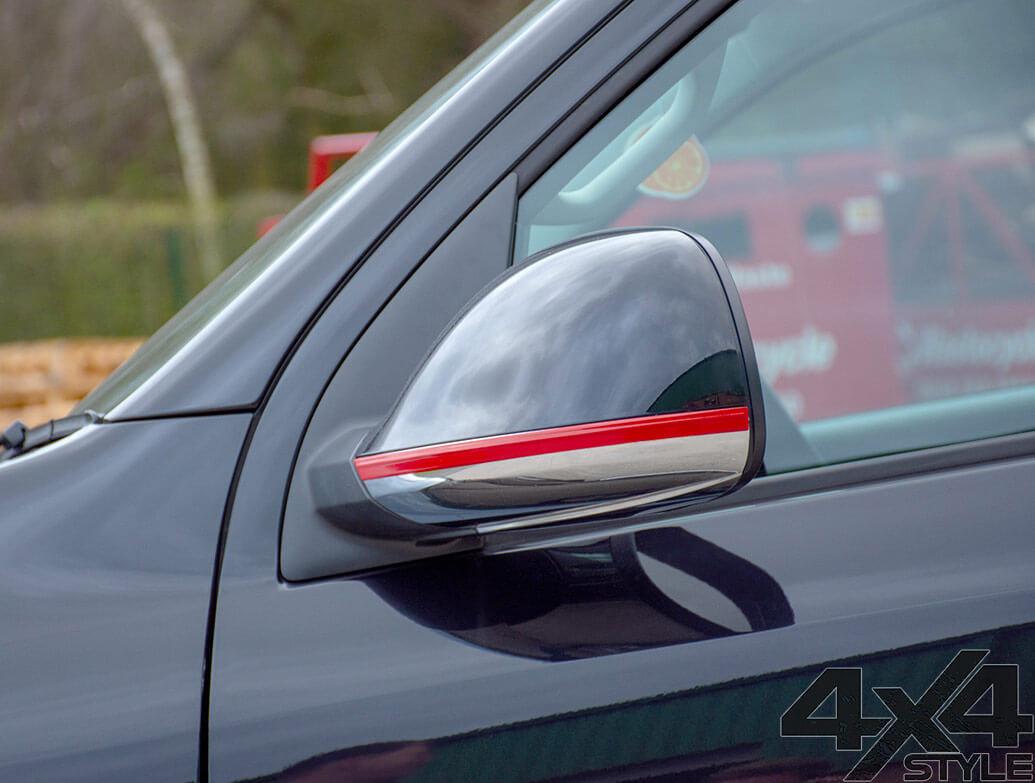 Red Edition Door Mirror Trim Strips - VW Amarok 2010>