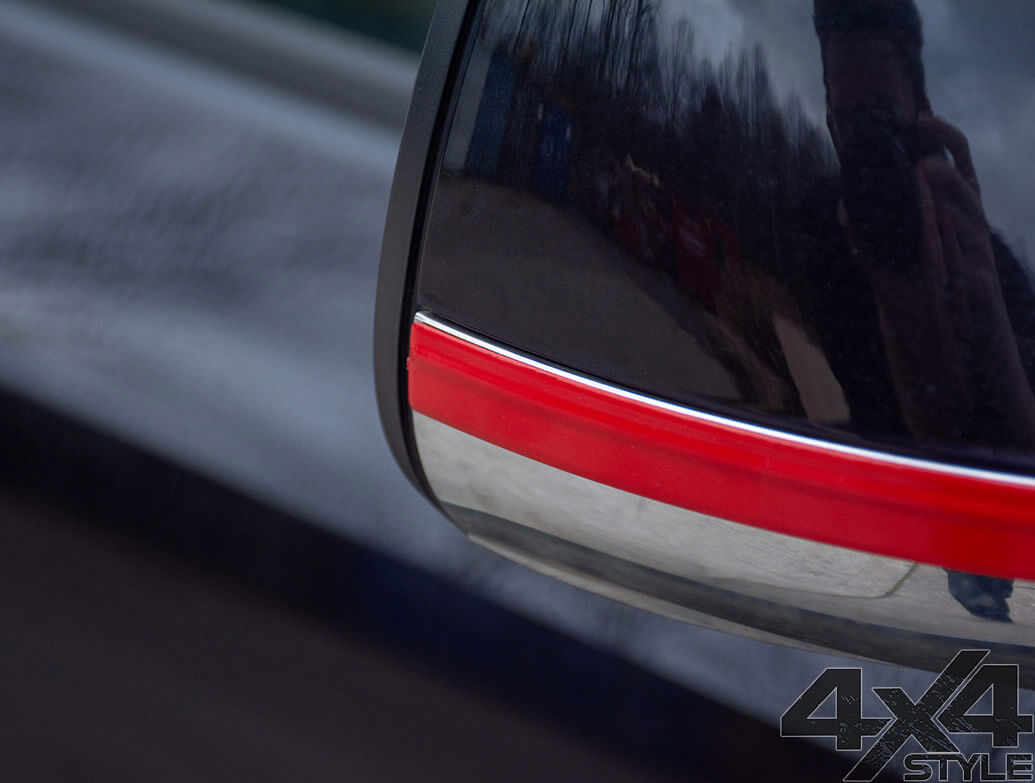 Red Edition Door Mirror Trim Strips - VW Amarok 2010>