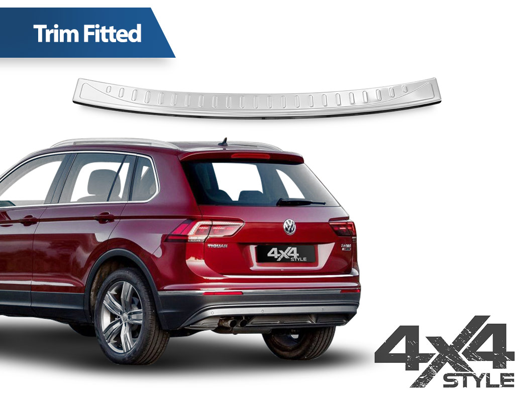 Polished Stainless Steel Rear Bumper Protector - VW Tiguan 2016>