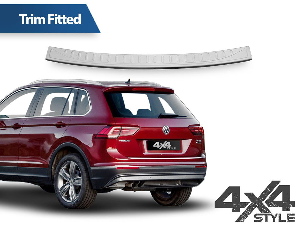 Brushed Stainless Steel Rear Bumper Protector - VW Tiguan 2016>
