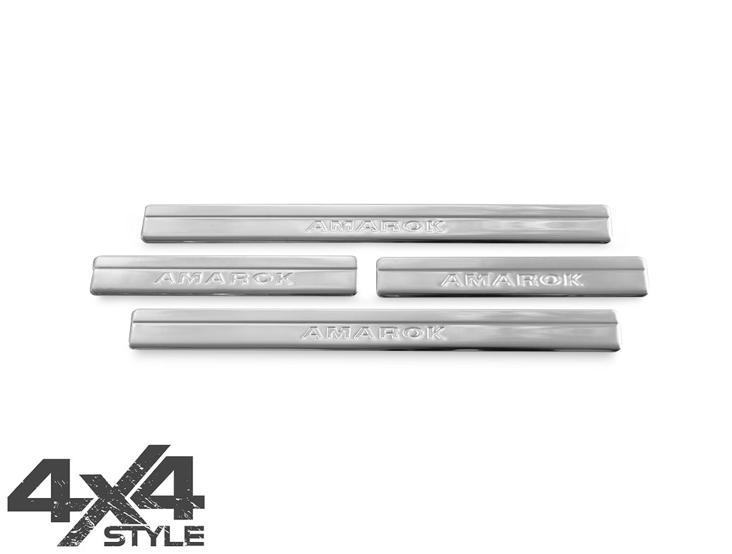 Brushed Stainless Steel Door Sill Covers - VW Amarok 2010>