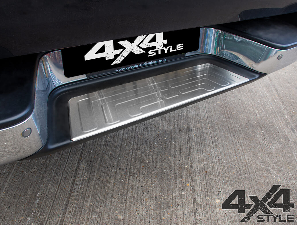 Brushed Stainless Steel Rear Bumper Protector - VW Amarok 2010>