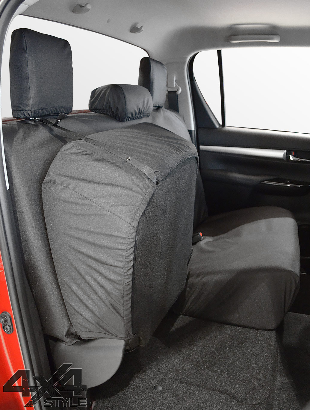 Tailored Fit Rear Black Seat Cover Set - Toyota Hilux 15>