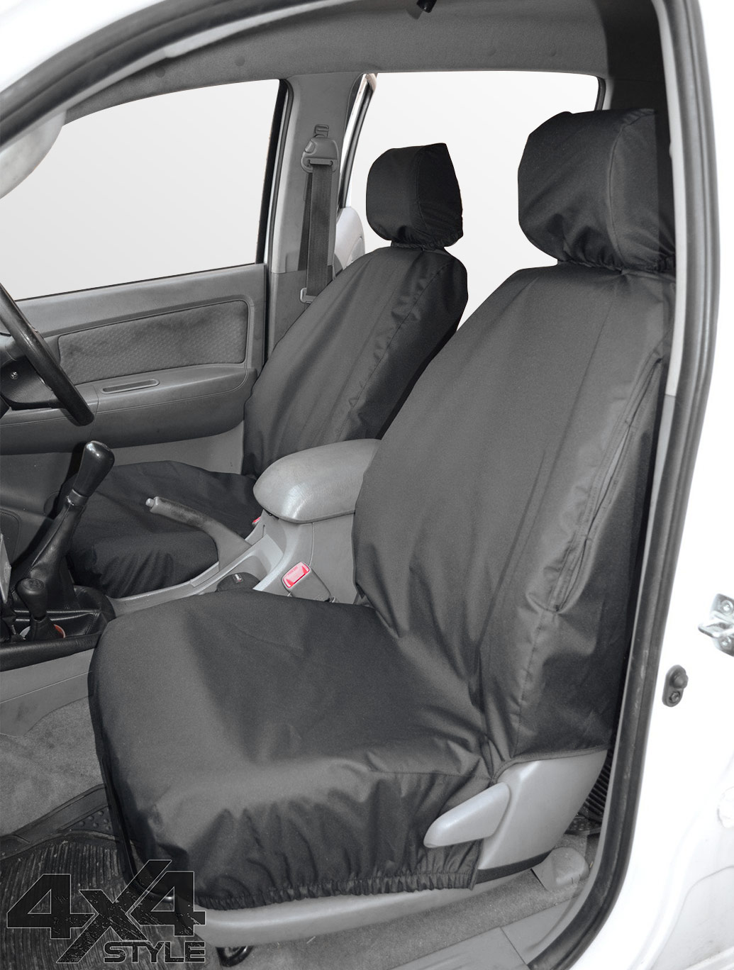Tailored Fit Front Black Seat Cover Set - Toyota Hilux 05-15