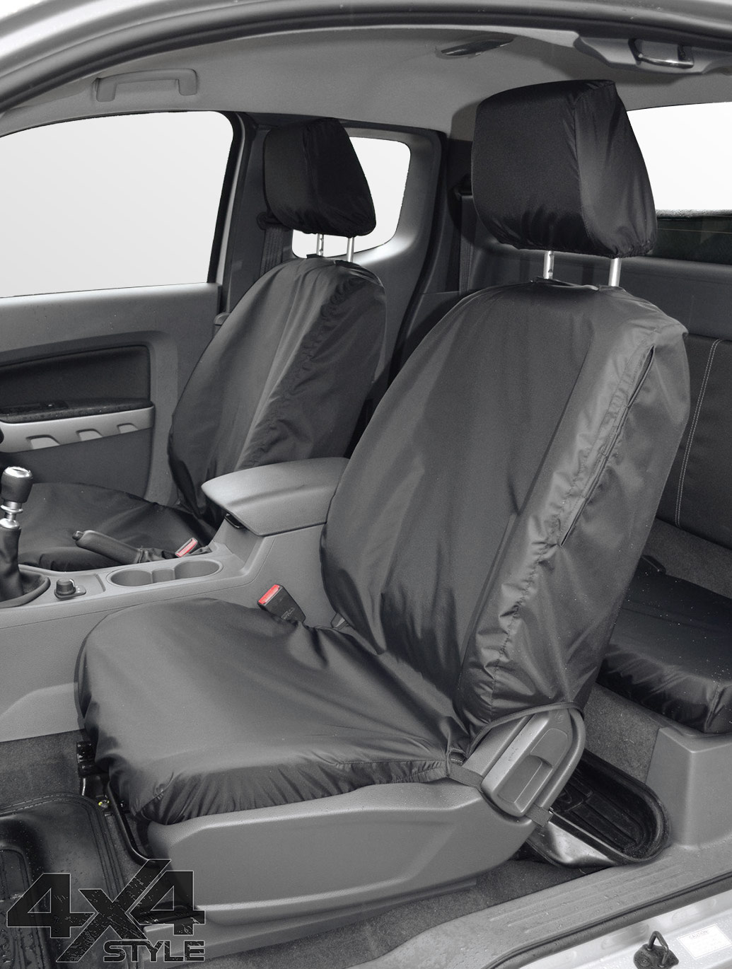 Tailored Fit Front Black Seat Cover Set - Ford Ranger T6 2012>