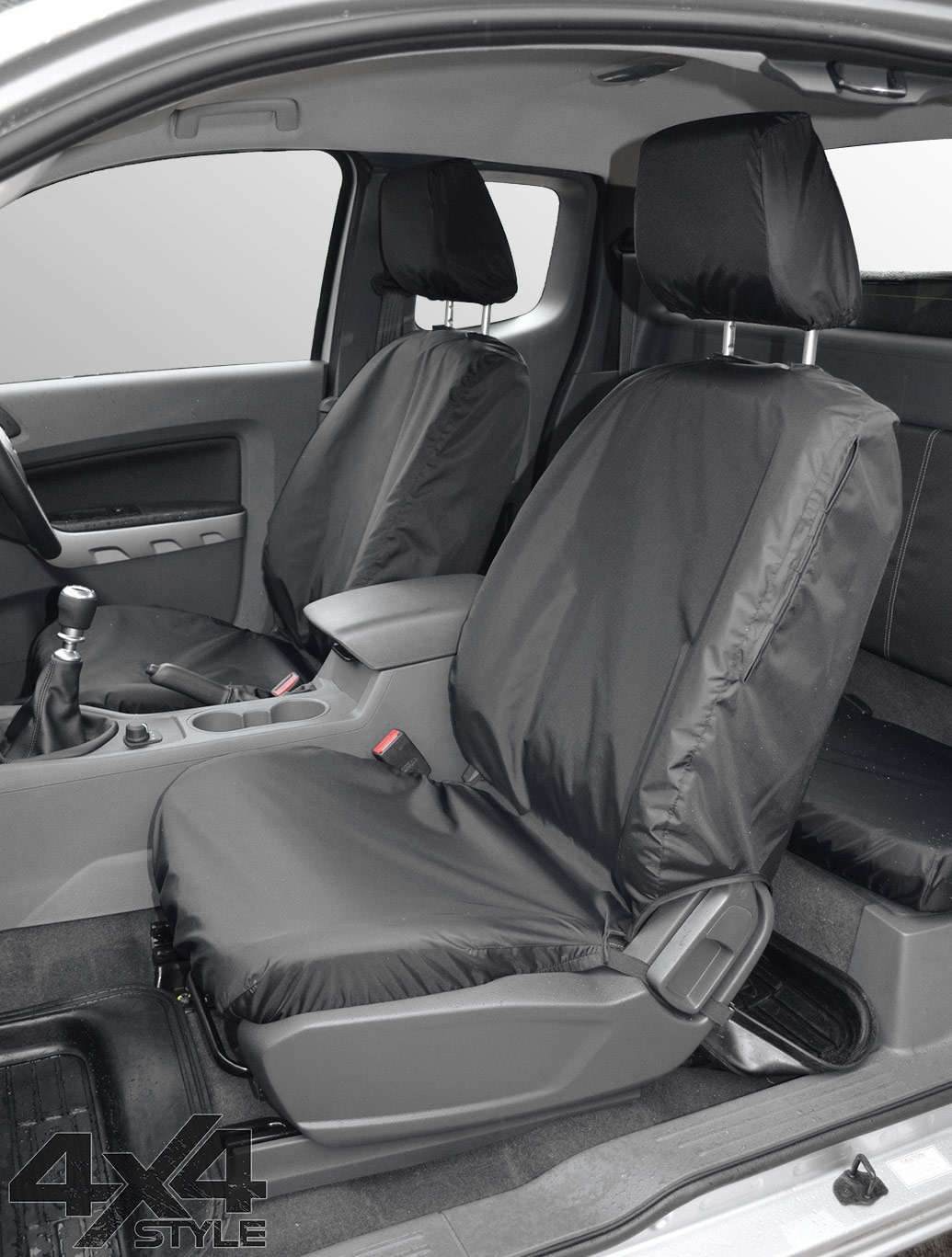 Tailored Fit Front Black Seat Covers - Ford Ranger Wildtrack 16>