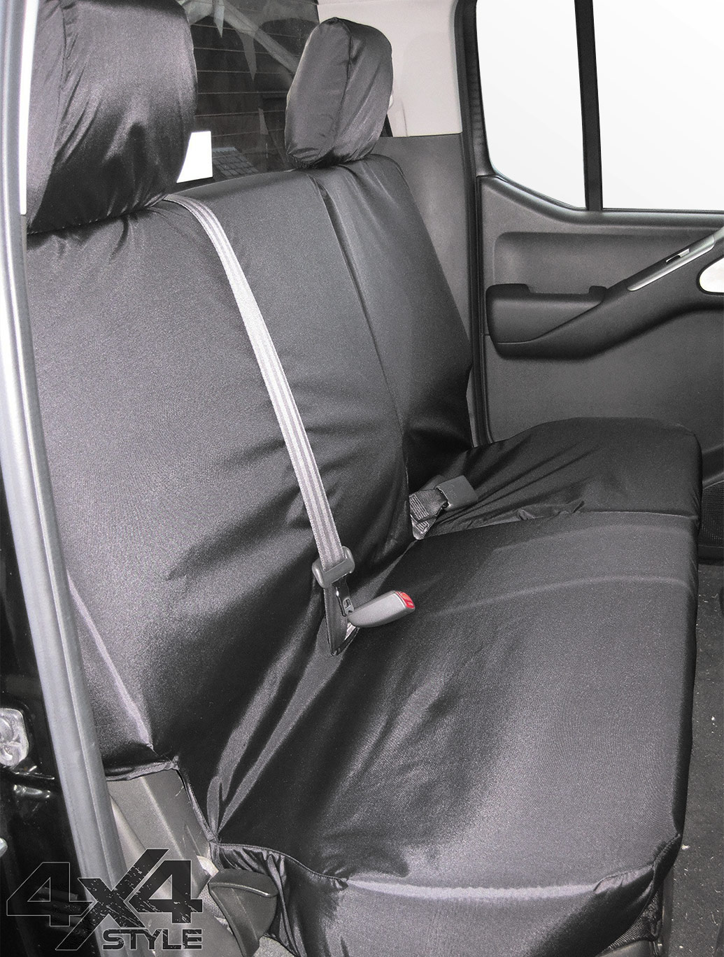 Tailored Fit Rear Bench Black Seat Covers - Nissan Navara 05-16