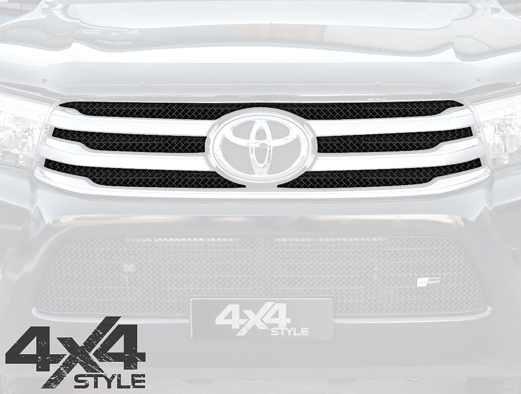 Zunsport Black Nylon Coated Upper Grille Set - Toyota Hilux 15>