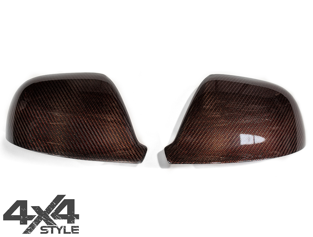 Red Real Carbon Fibre Mirror Covers - VW Amarok 2010>